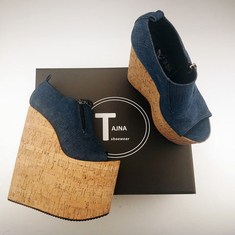 Jean Denim Peep Toe Platform High Heel Wedges - Tajna Club