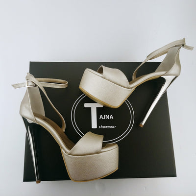 Dark Gold Silver Heel Strap Platforms - Tajna Club