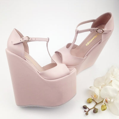Light Pink  Mary Jane High Heel Wedding Wedge Shoes - Tajna Club