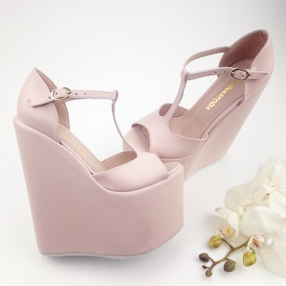 Tajna Heel Wedge High Shoes Club Mary Jane – Wedding Light Pink QdtrBshCx