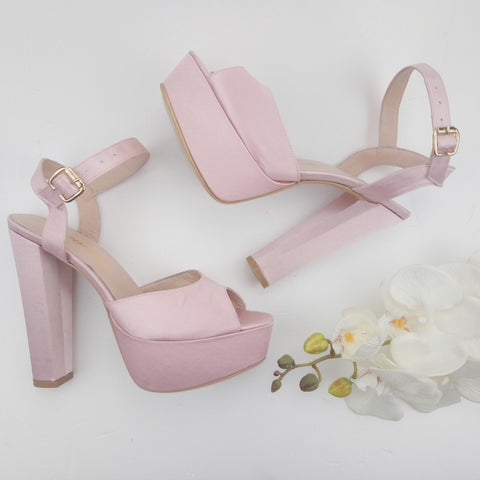 Light Pink Satin Strap Bridal Chunky Platform Shoes - Tajna Club