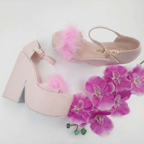 Bridal Powder Pink Fury High Heel Wedding Wedges - Tajna Club