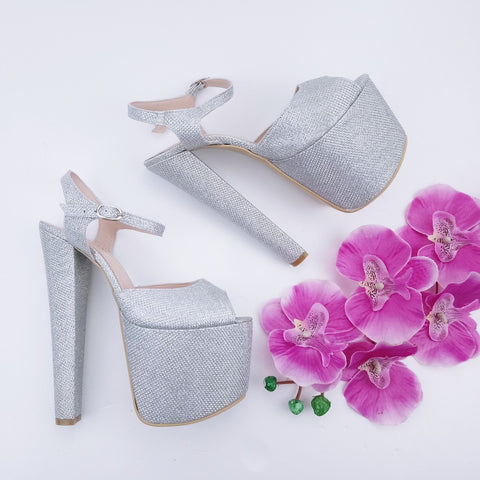 Silver Shine Ankle Strap Chunky Platform Shoes - Tajna Club