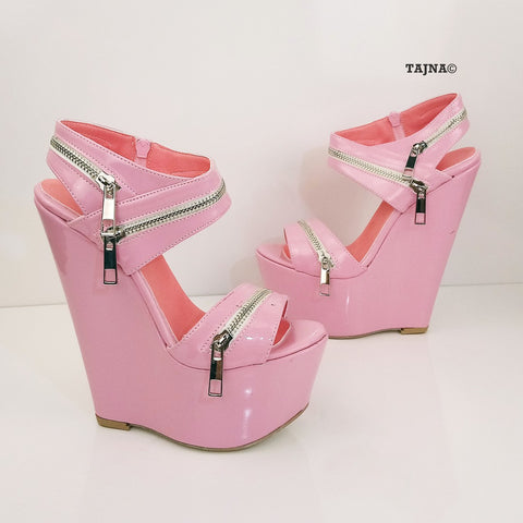 Baby Pink Patent Leather 17 cm Heel Wedge Sandals - Tajna Club