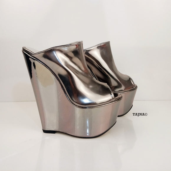 Silver Peep Toe 17 cm Heel Wedge Mules - Tajna Club