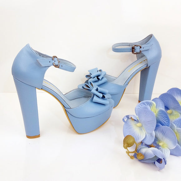 Baby Blue Ribbon Bridal  Platform Shoes - Tajna Club