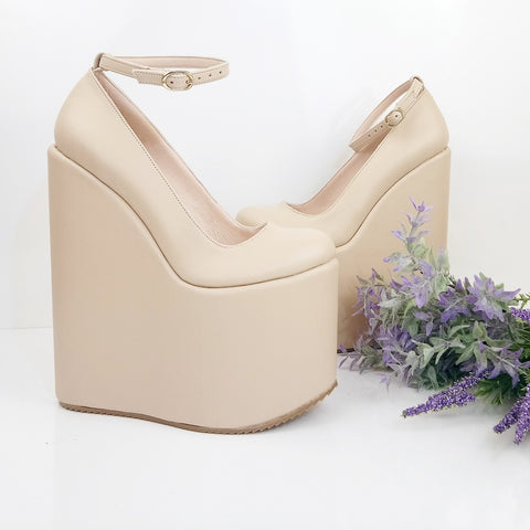 Nude Cream Ankle Strap Platform Wedge Shoes - Tajna Club