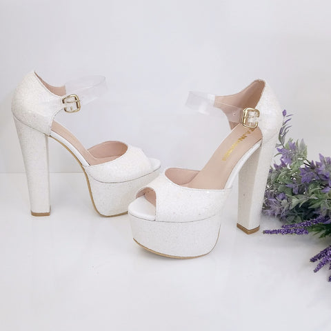Transparent Strap Shiny Bridal White Platform Shoes - Tajna Club