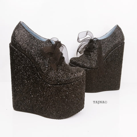 Black Shinny Lace Up Shinny Wedge Platform Shoes - Tajna Club