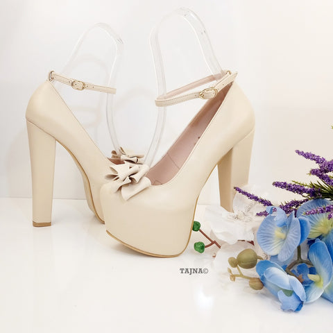 Nude Cream Bridal Ribbon Chunky Platform Shoes - Tajna Club