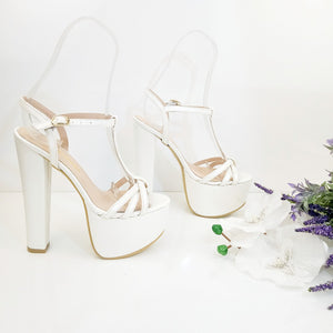 White Strap Bridal Chunky Platform Shoes - Tajna Club