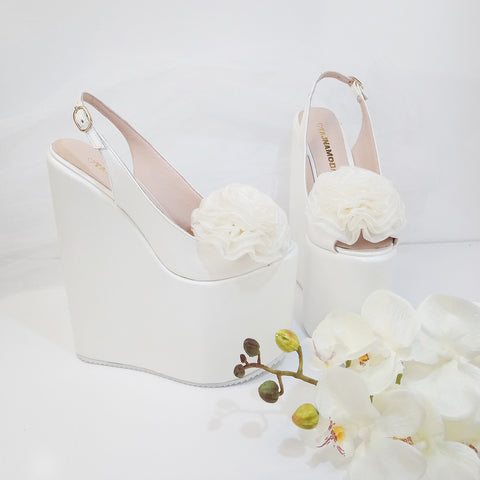 Pompom Ivory White Pee Toe Platform Wedge Bridal Shoes - Tajna Club