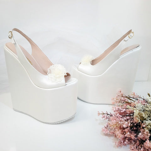 Lacy Ivory White Pee Toe Platform Wedge Bride Shoes - Tajna Club