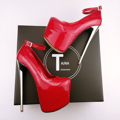 Red Patent Leather Metalic Heel Platform - Tajna Club