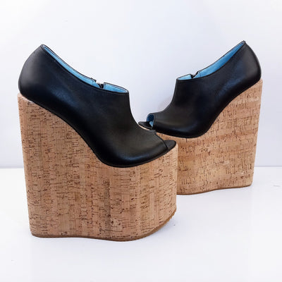 Peep Toe Black High Heel Wedge Platform Shoes - Tajna Club