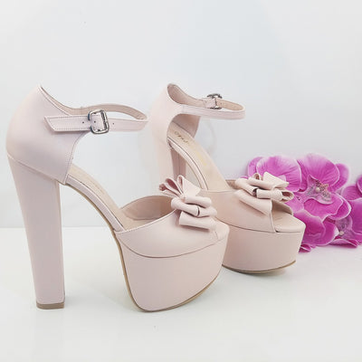 Light Powder Pink Ribbon Bridal  Platform Shoes - Tajna Club