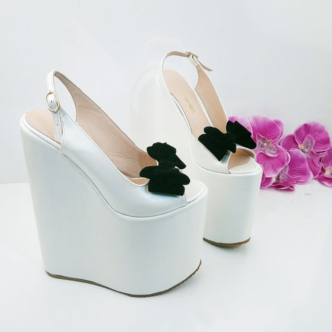 Groom White Ankle Strap Platform Wedge Bridal Shoes - Tajna Club