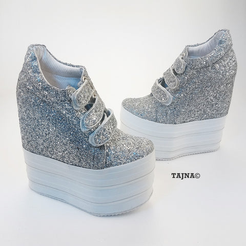 Silver Shiny Hidden Platform Heel Sport Shoes - Tajna Club