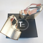 21 cm Golden Platform Heel Wedge Shoes - Tajna Club