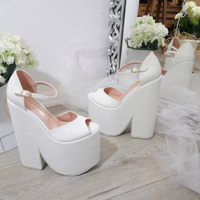 White Ankle Strap Platform Wedge Bridal Shoes - Tajna Club