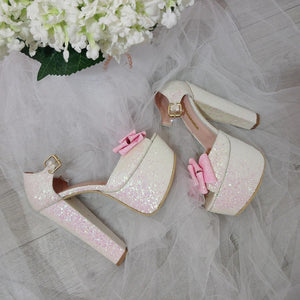 White Shiny Pink Ribbon Bridal Platform Shoes - Tajna Club