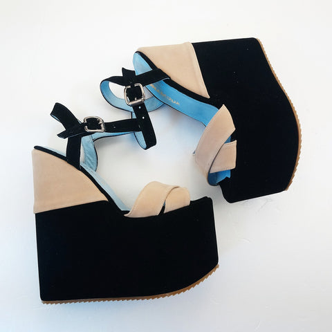 Black Cream Velvet Ankle Strap Platform Wedge Sandals - Tajna Club