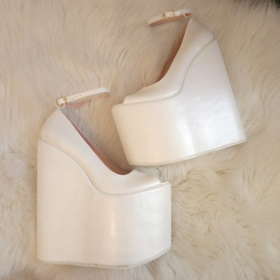 Ivory White Ankle Strap Platform Wedge Bridal Shoes - Tajna Club