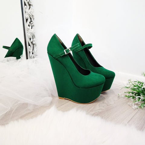 Dark Green Suede 17 cm High Heel Wedge Shoes - Tajna Club
