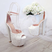 Lace White Ankle Strap High Heel Platform Bride Shoes - Tajna Club
