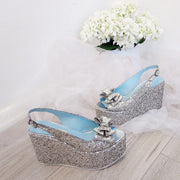Ribbon Silver Glitter Wedge Platform Shoes - Tajna Club