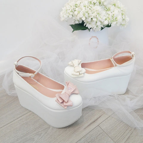 Ribbon White Wedge Platform Shoes - Tajna Club
