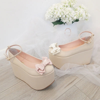 Ribbon Nude Cream Wedge Platform Shoes - Tajna Club