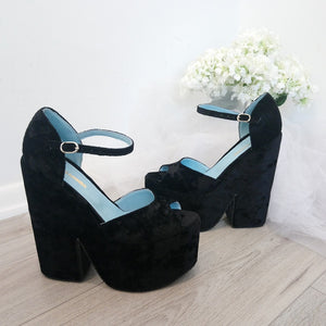 Black Velvet Ankle Strap Platform Wedge Sandals - Tajna Club