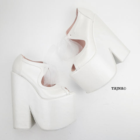 White Lace Up Platform Wedge Bridal Shoes - Tajna Club