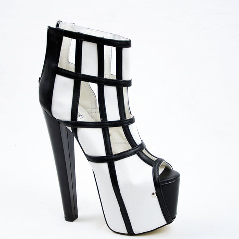 Black White Square Ankle High Heel Platform s - Tajna Club