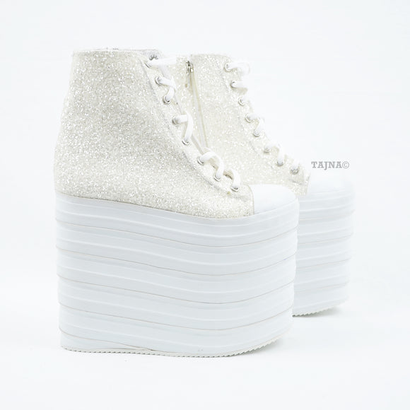 White Sequin Lace Up Wedge Platform Shoes - Tajna Club