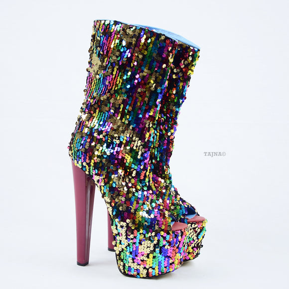 Sequin Fabric High Heel Platform Boots - Tajna Club