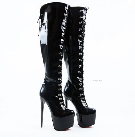 Black Patent Lace Up Military Style Heel Boots - Tajna Club