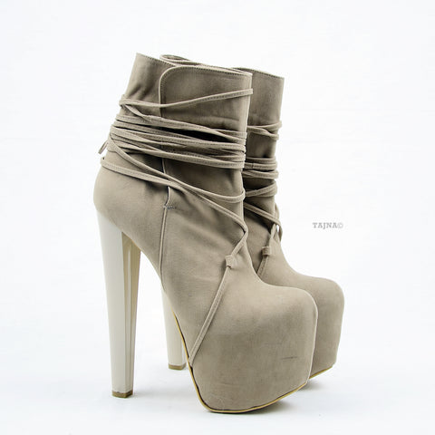 Beige Suede Lace Up High Heel Platform Boots - Tajna Club