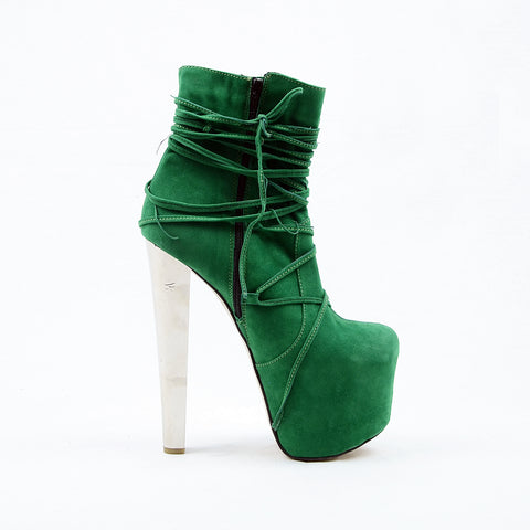 Green Suede Lace Up High Heel Platform Boots - Tajna Club