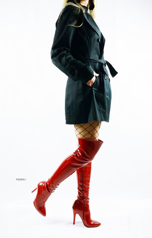 Strech Red Patent Over Knee Boots - Tajna Club