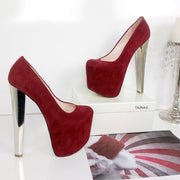 Dark Red Burgundy Platform Heels - Tajna Club
