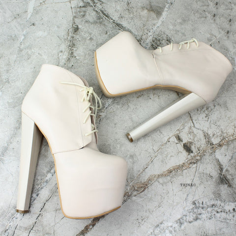Cream High Platform Heel Booties - Tajna Club