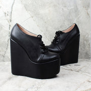 Black Lace Up Wedge Shoes - Tajna Club
