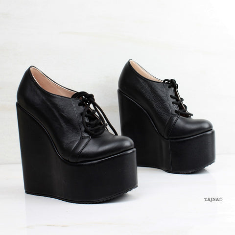 Genuine Leather Black Wedges Lace Up Platforms - Tajna Club