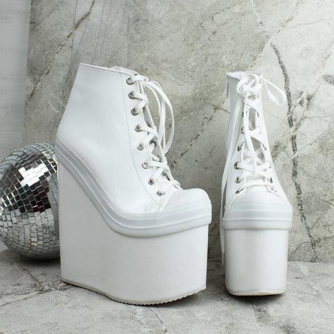 White Lace Up Ankle Wedge Booties - Tajna Club