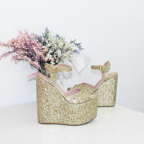 Gold Glitter Bridal High Heel Platform Shoes - Tajna Club