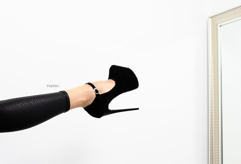 Black Suede Strap Pencil Heels - Tajna Club