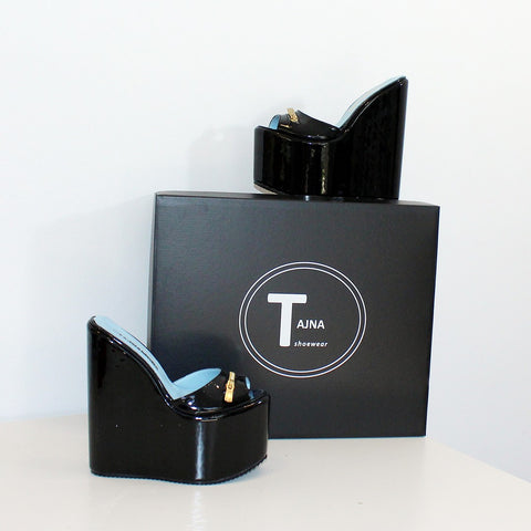 Zipper Detail Black PLatform Mules - Tajna Club