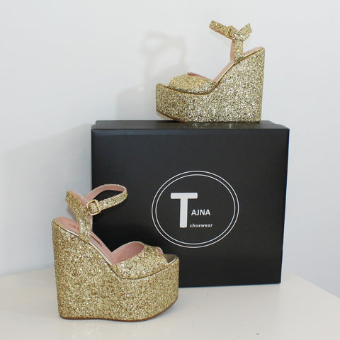 Gold Shiny Peep Toe Wedge Platform Shoes - Tajna Club